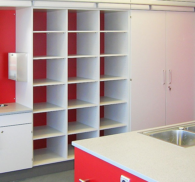 High cupboard shelves for school bags